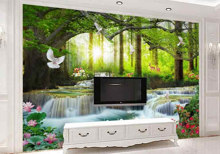 custom 3D wallpaper roll 3d Green big tree forest waterfall photo print wallpaper 3D Decorative paintings