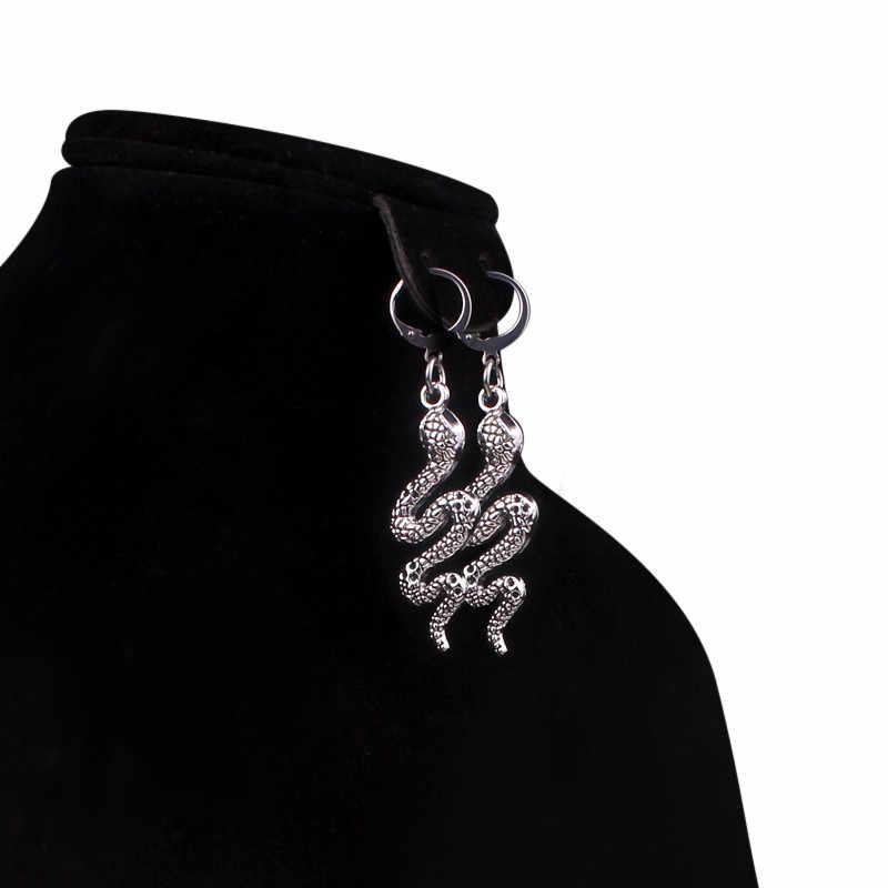 原宿ヘビ形のフープイヤリング女性ガールインヴィンテージ動物イヤリング毎日クリエイティブファッションジュエリー brincos mujer