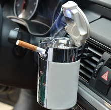 1pc Portable Car Ashtray With LED Cigarette Smoke Car Ashtray Blue LED Light Smokeless Ashtray Cigarette Holder Anti-Slip Rubber