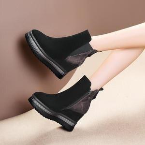 Image 5 - ALLBITEFO wiggen hak echt leer hoge hakken enkellaars voor vrouwen gemengde kleuren vrouwen laarzen winter sneeuw laarzen maat: 34 42