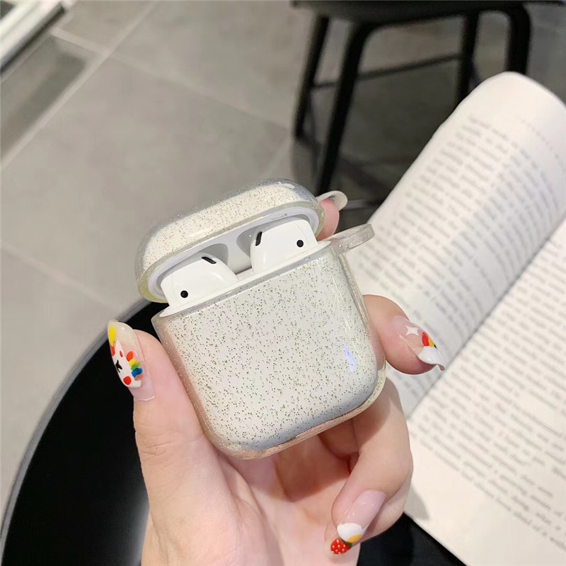 For <font><b>AirPod</b></font> 2 <font><b>Case</b></font> 3D Glitter Transparent Cartoon Soft <font><b>Silicone</b></font> Wireless Earphone <font><b>Cases</b></font> For <font><b>Apple</b></font> Airpods <font><b>Case</b></font> Cute Cover Funda image