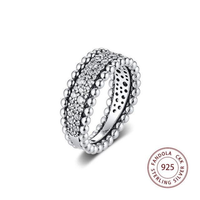 2020 バレンタインビーズパヴェバンドリングファム 925 スターリングシルバークリア Cz の結婚指輪ファッションジュエリー anillos mujer