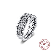2020 Valentines Beaded Pave Band Ring femme 925 Sterling Silver Clear CZ Wedding Rings for Women Fashion Jewelry anillos mujer