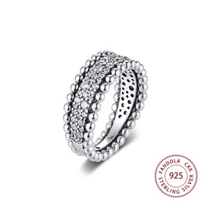Image 1 - 2020 Valentines Beaded Pave Band Ring femme 925 Sterling Silver Clear CZ Wedding Rings for Women Fashion Jewelry anillos mujer