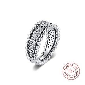 Image 1 - 2020 האהבה חרוזים פייב להקת טבעת femme 925 כסף נקה CZ טבעות נישואים לנשים תכשיטים anillos mujer