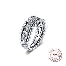 Женское кольцо с бусинами на День святого Валентина 2020, обручальное кольцо из стерлингового серебра 925 пробы с прозрачным кубическим цирконием, модные ювелирные украшения