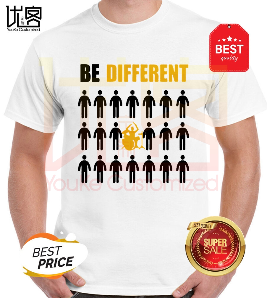 i'd rather be different drumming hip hop rock band printed t shirt short sleeve drums music gift rock drummer t-shirts image