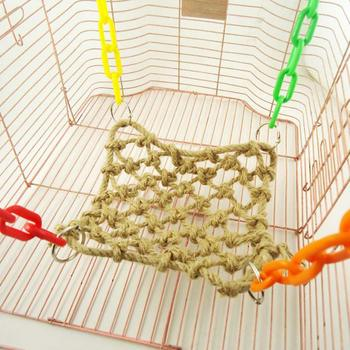 Bird Hanging Hammock Parrot Hemp Rope Net Swing Climbing with Hooks for  Macaw African Greys Cage Perch Training Toy 5