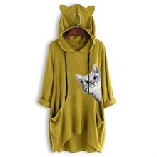 New Fashion Cat Animal Print Mid Sleeve Hooded T-Shirt For Women Female Tops Tumblr Graphic Tees