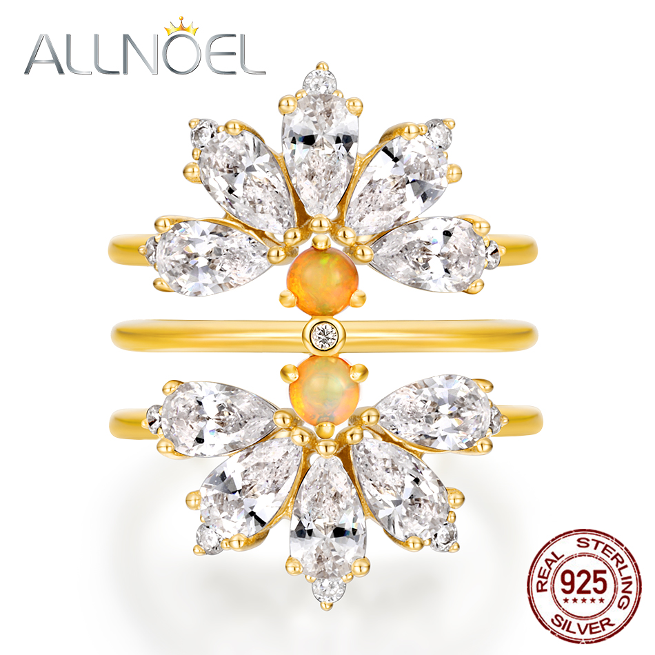 ALLNOEL Creative Designer Bridal Set Natural Opal Turquoise GemstonesS Terling Silver Stackable Flower Ring Wedding Fine Jewelry