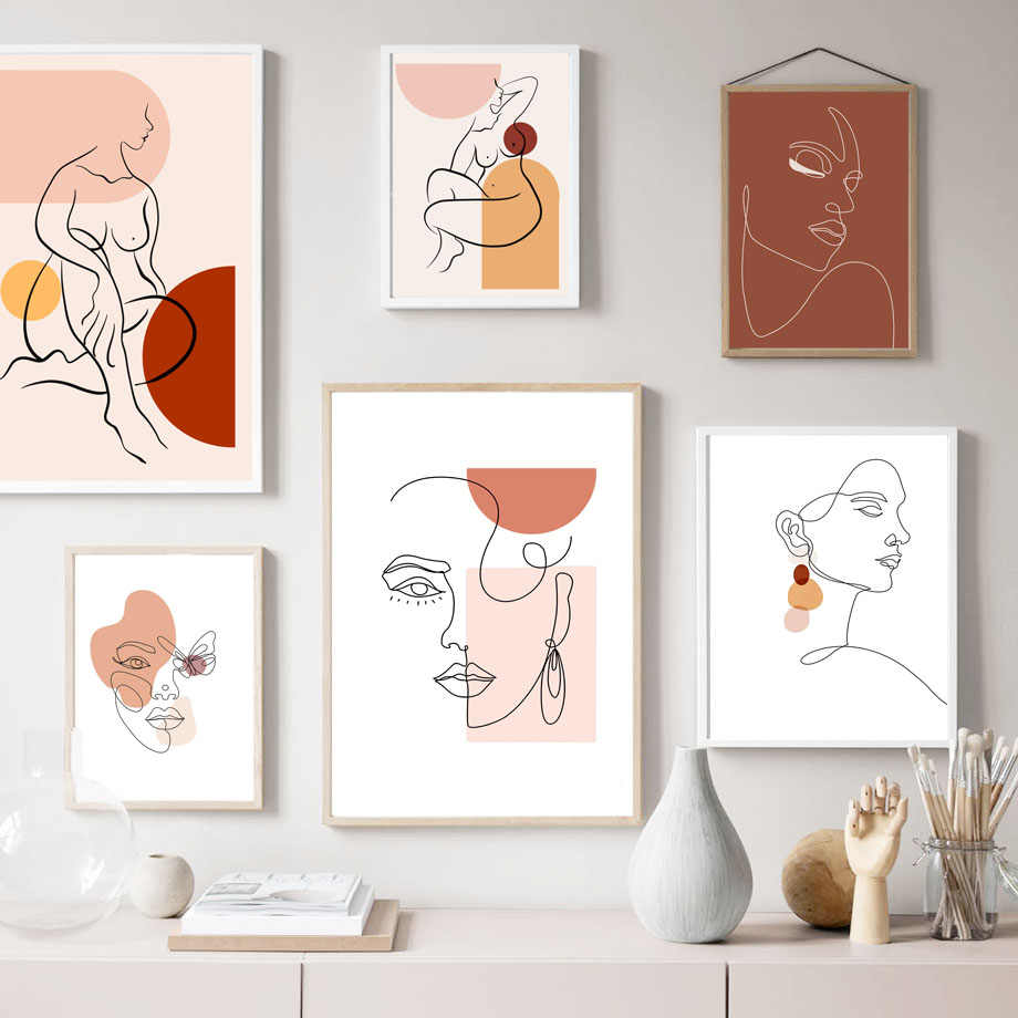 Abstract Line Face Geometric Wall Art Canvas Painting Nordic Body Art Posters And Prints Wall Pictures For Living Room Decor Aliexpress
