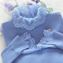 Nova retalhos de renda camisola feminina outono manga longa jumper azul blusas casuais senhoras malha pulôver pull femme p306
