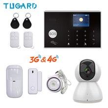 Tuya 433mhz wifi 3g 4g sistema de alarme de segurança em casa do assaltante, apps controle kit anfitrião alarme sem fio com câmera ip ptz monitor do bebê