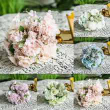 New Style Wedding Bouquet Flowers Bride Holding Flowers For Decor Cloth Artificial Colorful Rose With Leaves Fashion Hot