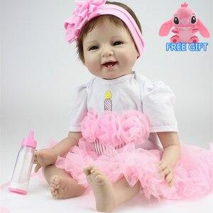 55 см силиконовые куклы reborn, модное платье принцессы, куклы и куклы, одежда, куклы playmate для детей, Рождественский подарок на день рождения