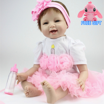 55cm silicone reborn dolls fashion princess dress dolls and doll clothes playmate dolls for kids Chrismas Birthday Gift