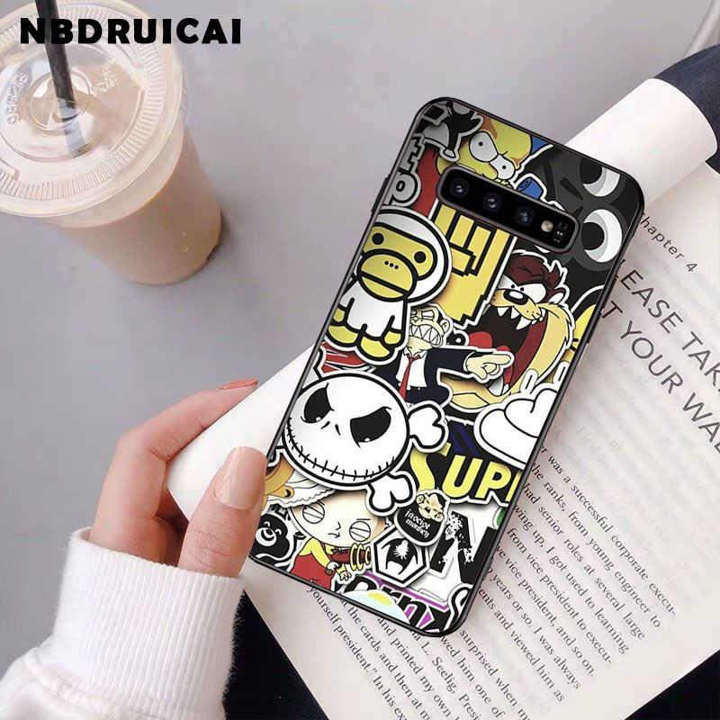 NBDRUICAI Anime Graffiti Sticker Bom Silikon Ponsel Case PENUTUP UNTUK Samsung S9plus S5 S6 Edge Plus S7 Edge S8plus S10 E S10 Plus