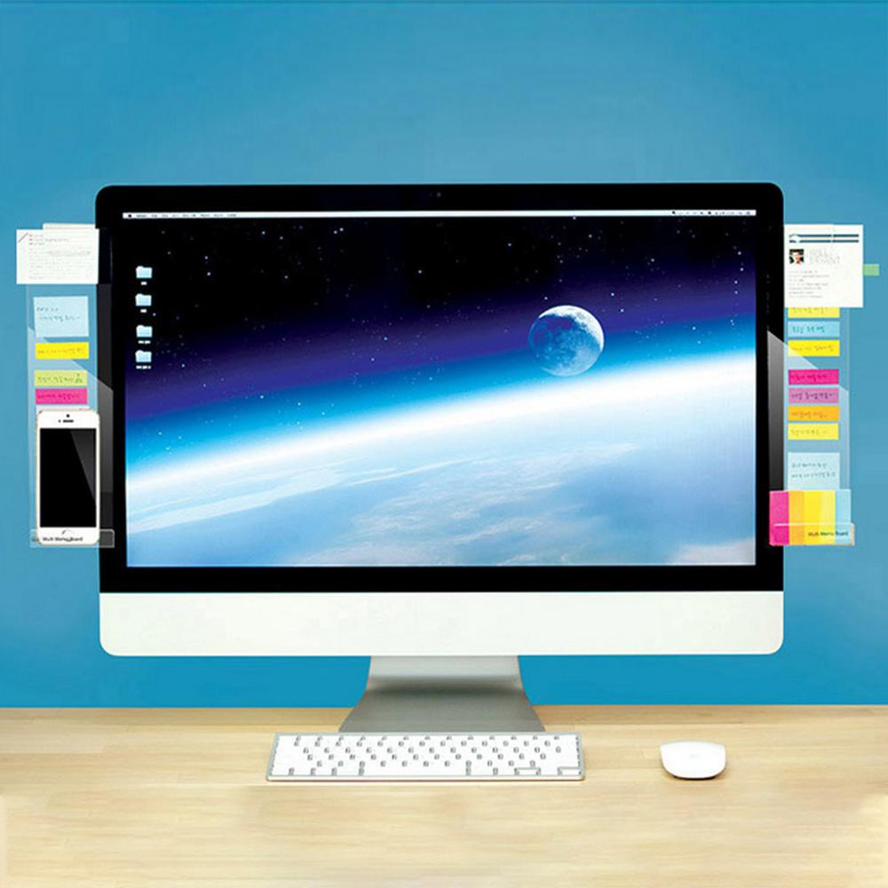 1 Pair Self-adhesive Acrylic Computer Monitor Message Memo Notes Tabs Board with Phone Charging Holder for Home Office School