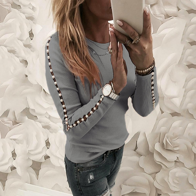 Elegant Pearl Nail Bead Long Sleeve Pink Knit Sweaters Women Invierno 2020 O Neck Hollow out Pullovers Black Grey Ladies Tops 8