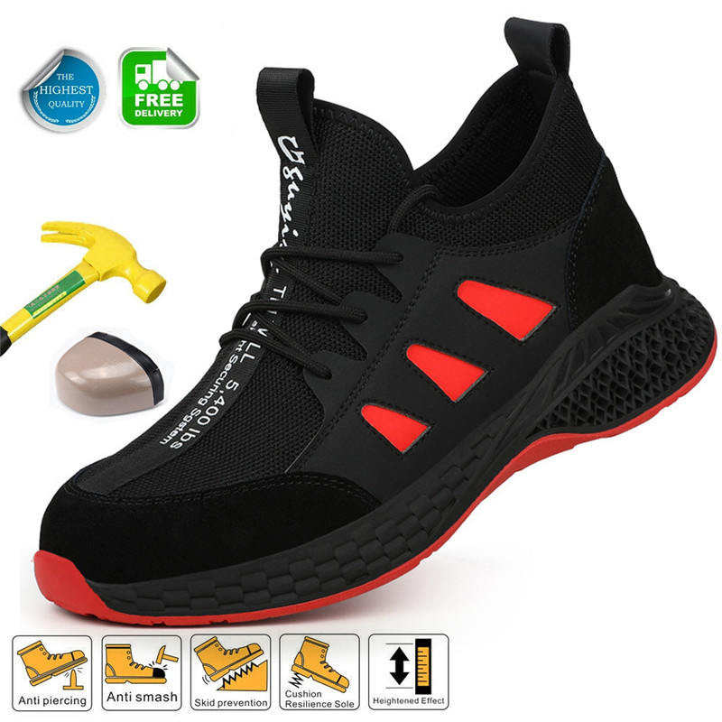 Work Steel Toe Shoes For Men Safety Work Shoes Sneakers Lightweight Breathable Working Boots With Metal Toe Indestructible Shoe