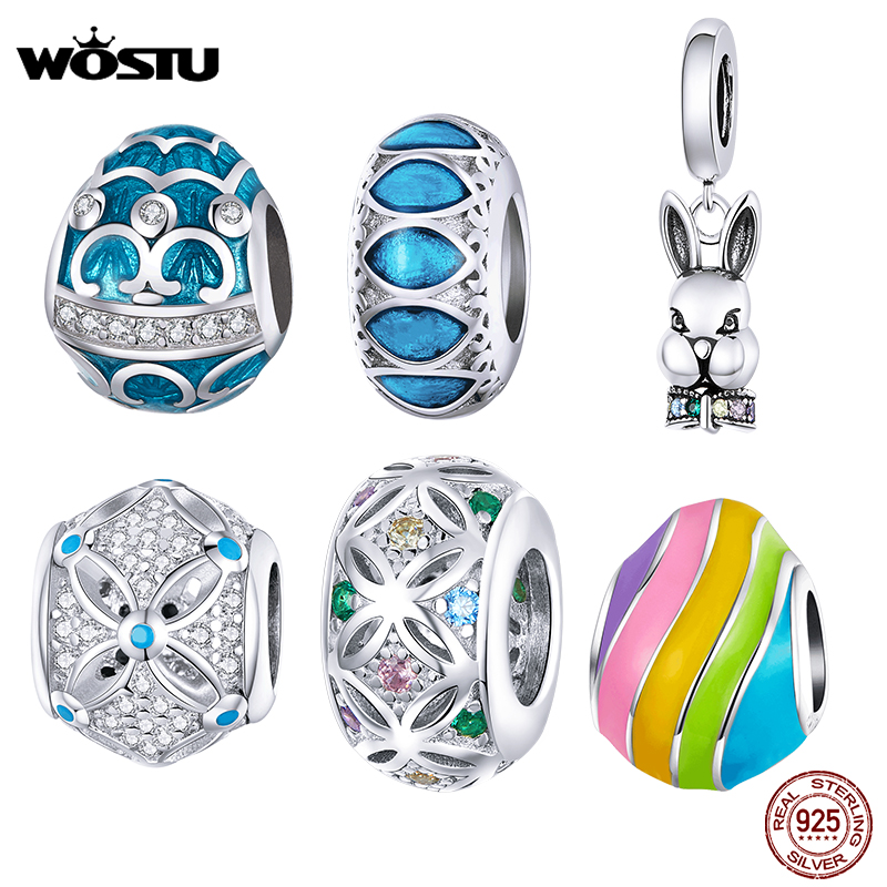 WOSTU Fantasy Easter Charms Real 925 Sterling Silver Easter Egg Beads Fit Original Bracelets Bangle Pendant DIY Jewelry CQC146