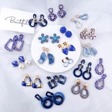 AENSOA 2019 Korean Blue Geometric Pendant Earrings Multiple Drop Trendy Beaded Resin Acrylic Raffia Dangle