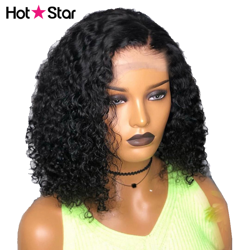 Curly Bob Lace Front Human Hair Wigs With Pre Plucked Hairline Virgo Malaysian Short Human Hair