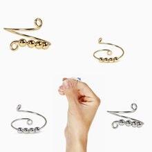 Fidget contas fidget anel spinner única bobina espiral fidget anel contas girar livremente anti estresse ansiedade anel de brinquedo para menina mulher