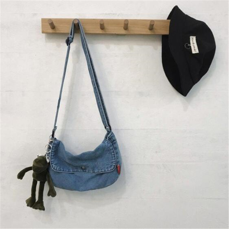 2020 Women Jeans Shoulder Bags With Lovely Bear Pendant Vintage Washed Cross Body Bags For Girls Drop Shipping M570