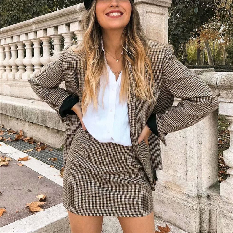 Vintage Single Breasted Office Ladies Plaid Blazer Long Sleeve Loose Houndstooth Suit Coat Jacket Women Blazers Female 2020 New