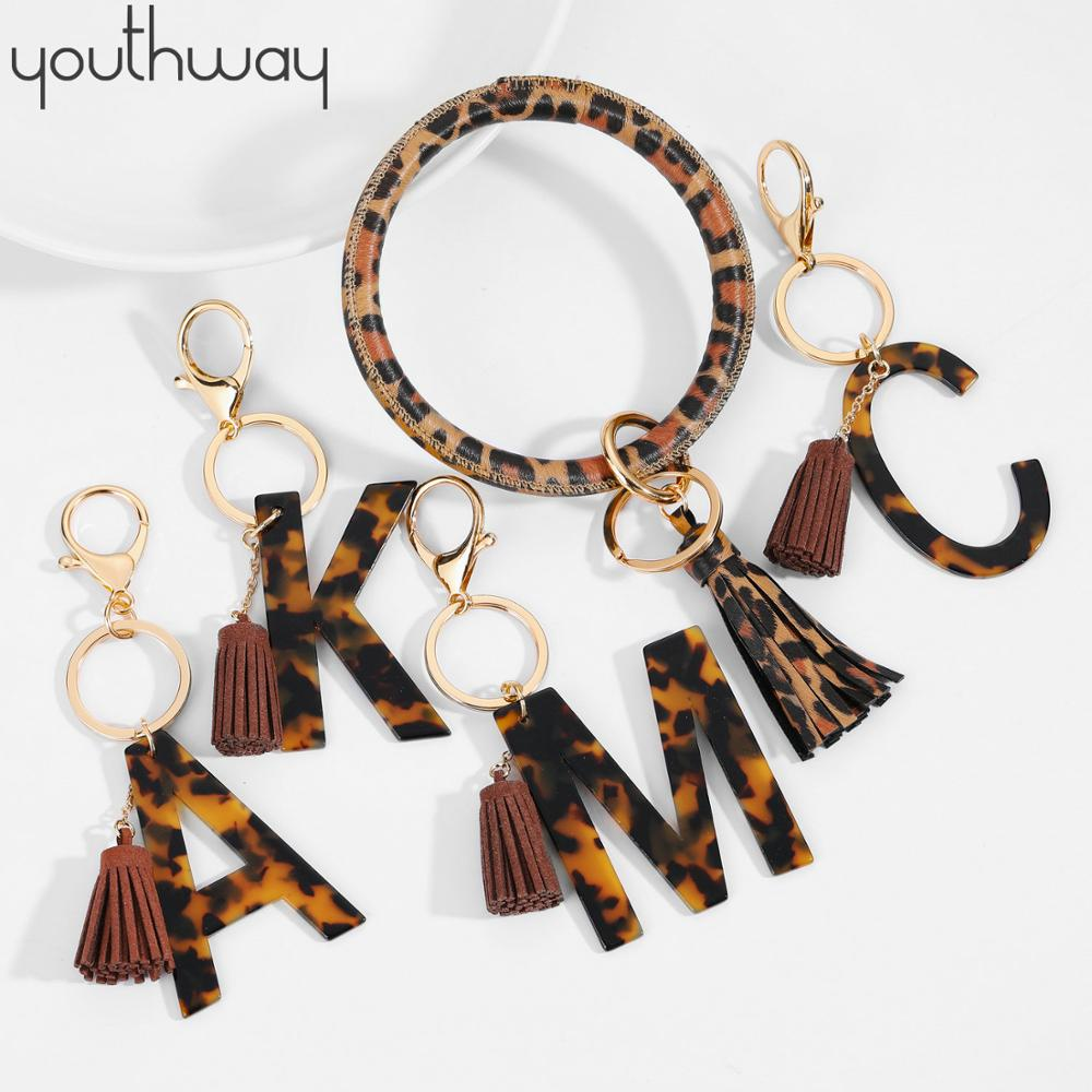 2PCS Keyring Bracelet Tassel Classic Leopard Print Initial Acetate Pendant Bangle Exaggerated Big Round Keychain Wrist Strap