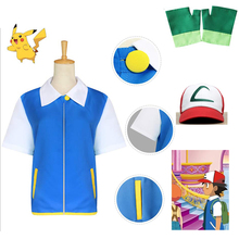 Anime Pocket Monster Cosplay Costumes Pokemon Ash Ketchum Blue Jacket + Gloves + Hat Ash Ketchum Cosplay Gifts For Kids Adult лонгслив printio heinz ash ketchum