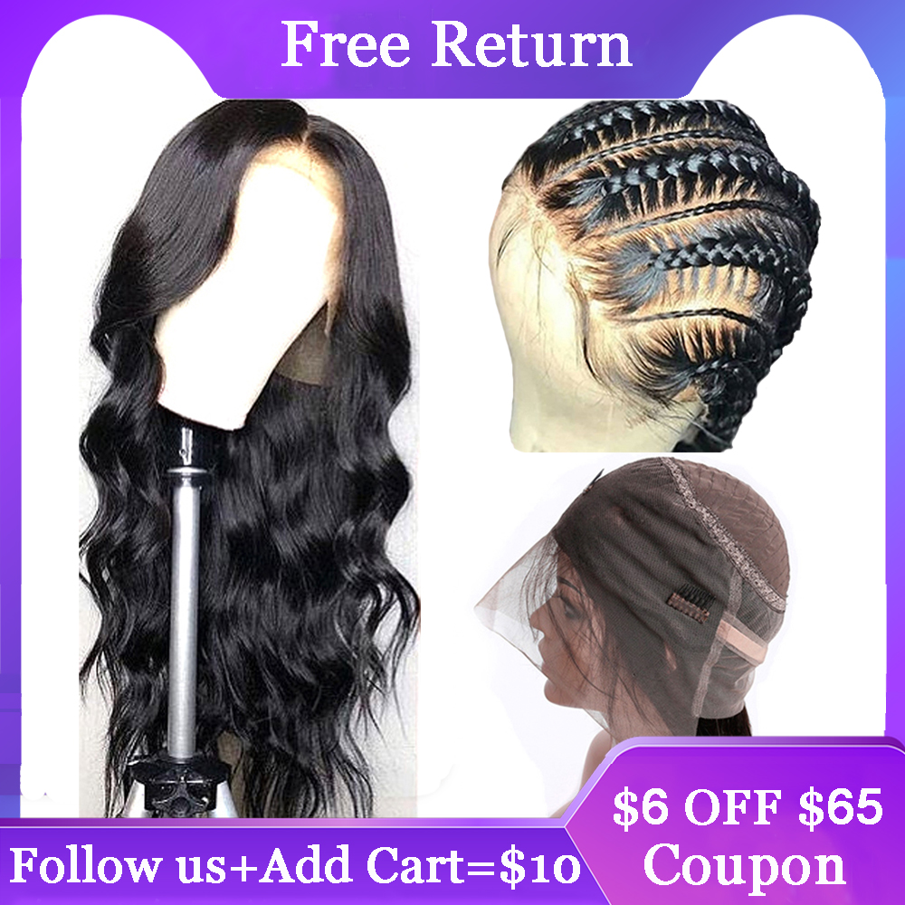 360 Lace Frontal Wig Pre Plucked With Baby Hair 150% Density Middle Ratio Remy Brazilian Body Wave Lace Frontal Human Hair Wigs image