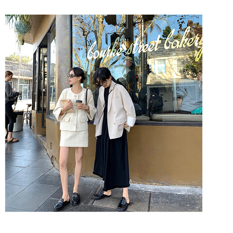 Autumn Winter Tweed 2 Piece Set Women Tweed Short Jacket Wool Coat+Bodycon Pencil Skirt Suit sets Lahore