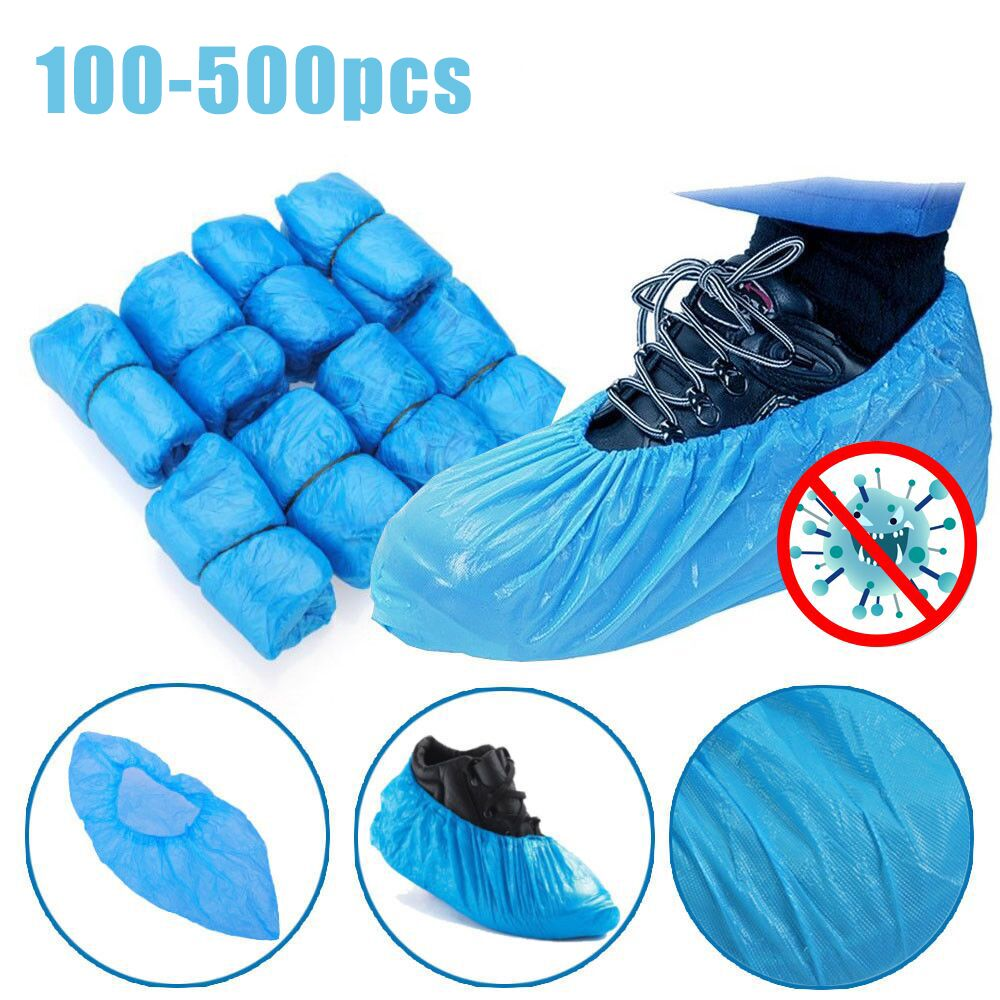100-500PCS Disposable Plastic Outdoor Rainy Day Carpet Cleaning Shoe Cover Blue Waterproof Shoe Covers Hot Sale Shoe Cover