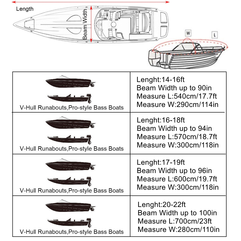 Image 5 - X AUTOHAUX 210D 540/570/700 x 280/300CM Trailerable Boat Cover Waterproof Fishing Ski Bass Speedboat V shape Black Boat Cover-in Boat Cover from Automobiles & Motorcycles