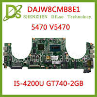 KEFU 5470 DAJW8CMB8E1 carte mère d'ordinateur portable Pour DELL 5470 V5470 5439 carte mère DAJW8CMB8E1 REV: E I5-4200U GT740-2GB DDR3 d'origine