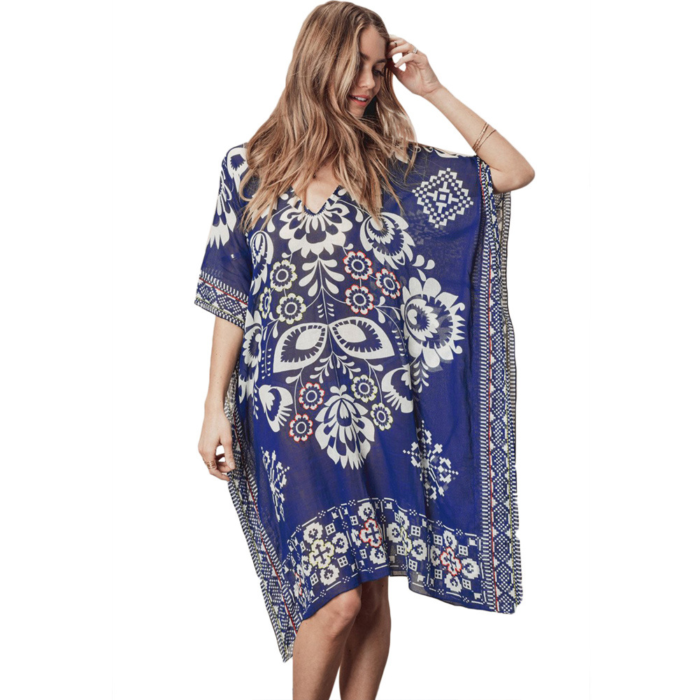 Pa Meng New Style Beachwear Floral Print V-neck Three-quarter-length Sleeve Si Fang Jin Versatile Beach Skirt 42254