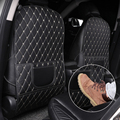 PU Leather Anti-Child-Kick Pad for Car Waterproof Seat Back Protector Cover Universal Auto Anti Mud Dirt Pads with Storage Bag