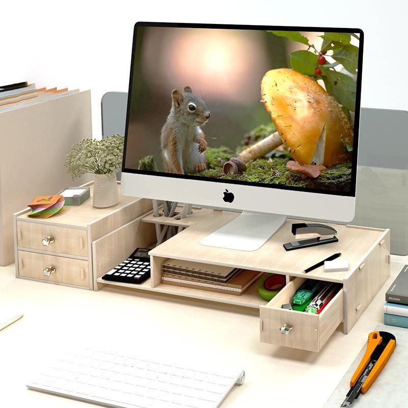 Neck Guard Office Computer Monitor Elevated Display Screen Base Bracket Computer Rack Desktop Finishing Rack Storage Box