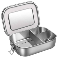 Stainless Steel Bento Box Lunch Container 3-Compartment Bento Lunch Box for Sandwich and Two Sides 1400 Ml Food Container for Ki