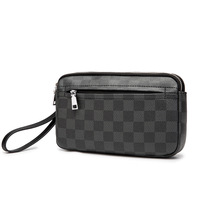 New Men Wristlet Clutch Bag Microfiber Synthetic Leather Fashon Business Mobile Phone Wallet Double Zipper Chess Plaid