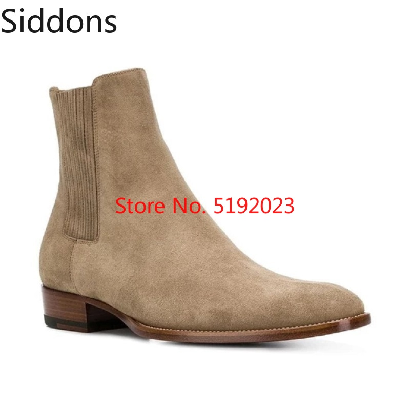 Winter Men Leather Suede Pointed Toe Ankle Dress Boots Luxury Men Boots Fashion Vintage Motorcycle Chelsea Boots D159