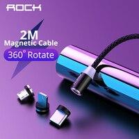 Rock cabo magnético micro usb tipo c  de carregamento rápido para iphone 11 xr samsung xiaomi cabos 1m 2m