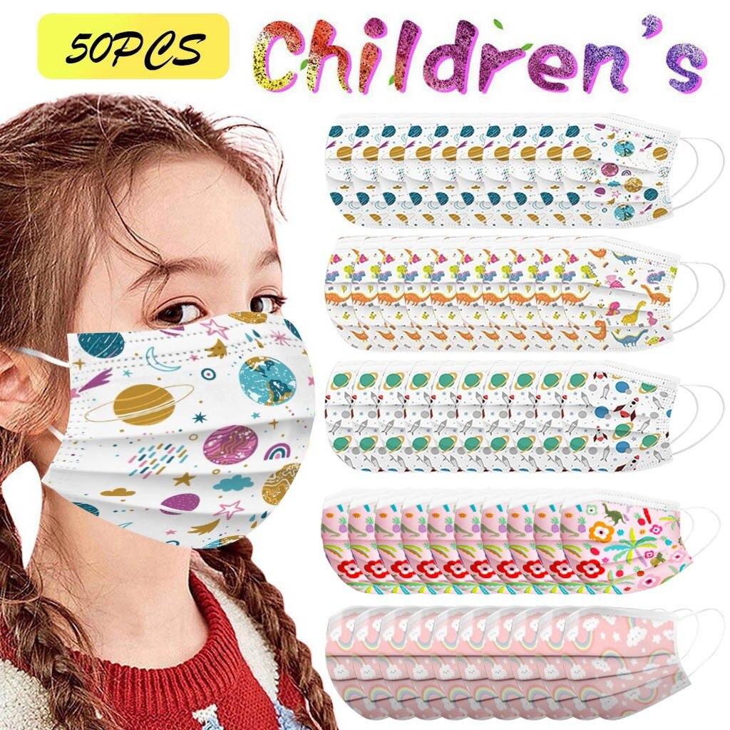 50 шт микс детская маска для лица одноразовые маски для лица с пыли стильная футболка с изображением персонажей видеоигр 3Ply петли уха рта кры...