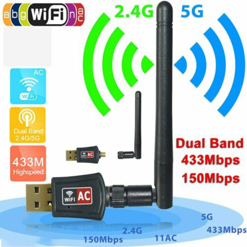 600 Mbps Dual Band 2.4/5Ghz Wireless Usb Wifi Network Adapter W/Antenna 802.11Ac Dual Mode With Line Network Card