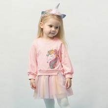 LZH Autumn Winter Kids Casual Long Sleeve Dress For Girls Unicorn Party Rainbow Tutu Princess Dress