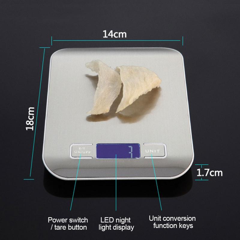 5/10 кг Нержавеющаясталь Высокая точность цифровой электронный ЖК-дисплей Дисплей балансовый масштаб Еда Вес дома Перезаряжаемые измерительный инструмент-5