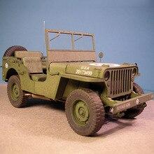 1:25 США Уиллис военные транспортные средства DIY 3D бумажные карты Модели Конструкторы строительные игрушки развивающие игрушки Военная Модель