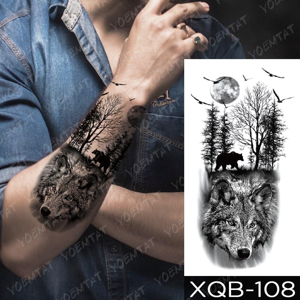 Waterproof Temporary Tattoo Sticker Clock Orange Blue Eyes Wolf Flash Tattoos Lion Compass Body Art Arm Fake Tatoo Women Men 5